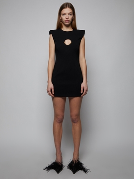 cut-out detail mini dress, black