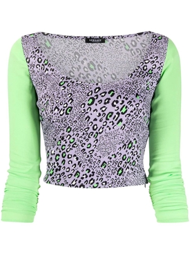 Lilac leopard print long-sleeve Top