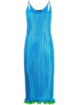 Pleated reflective slip dress, blue
