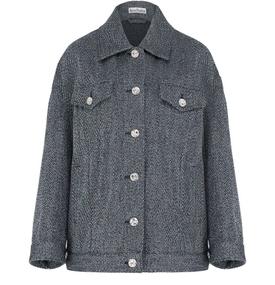 Twill Overshirt Style Jacket Blue Melange