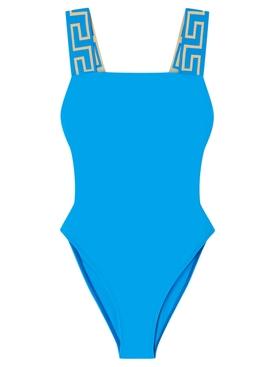 GRECA BORDER ONE-PIECE SWIMSUIT Turquoise