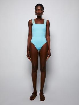 Greca trim swimsuit LIGHT BLUE