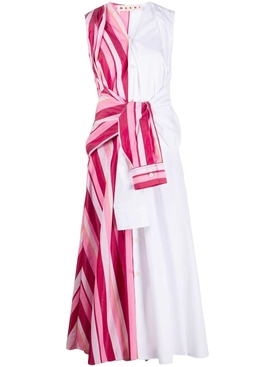 Pink and white tied shirt dress