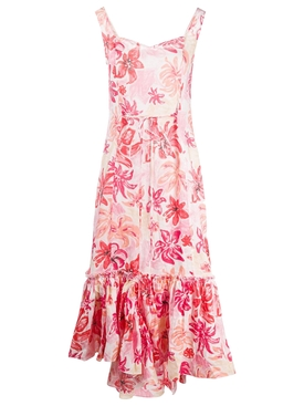 Pink Tropical Flower Print Dress