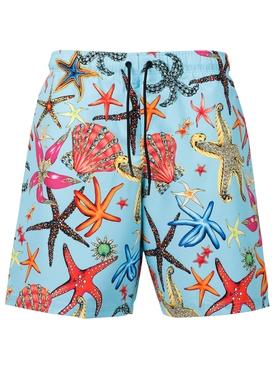 Starfish print swim shorts blue