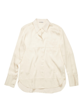 silk-blend blouse, warm white