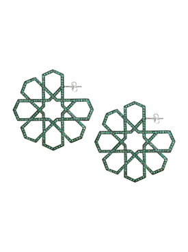 White Gold and Emerald Arabesque Deco Earrings