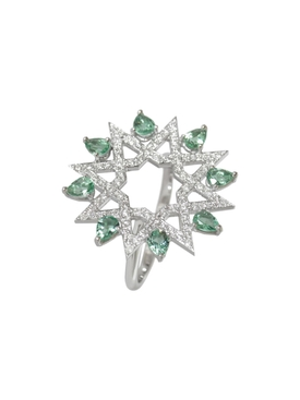 White Gold and Diamond Arabesque Deco Ring