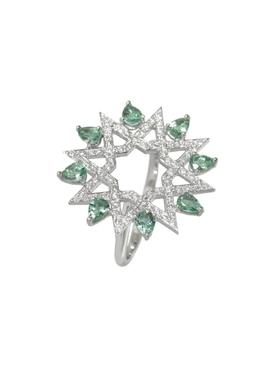 White Gold and Diamond Arabesque Deco Ring