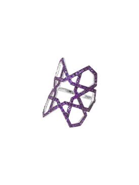 White Gold Purple Arabesque Deco Ring