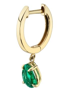 18k yellow gold and emerald single huggie