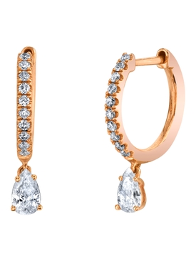 18k rose gold small pave hoop