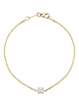 18k yellow gold asscher cut diamond chain bracelet