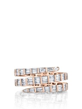 18K ROSE GOLD THREE ROW BAGUETTE DIAMOND COIL RING