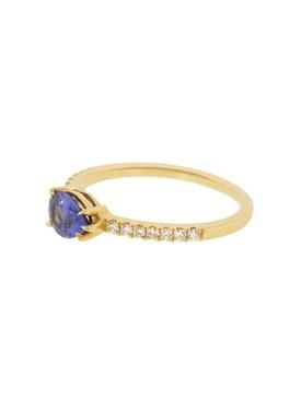Blue sapphire & diamond pave ring