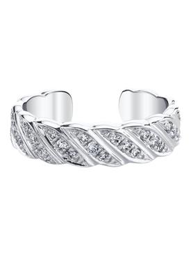 18k white gold diamond braided ear cuff