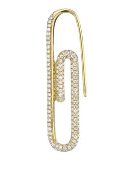 18K YELLOW GOLD DIAMOND PAPER CLIP SINGLE EARRING LEFT SIDE