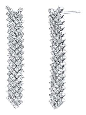 18k white gold pave diamond short zipper earrings