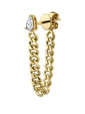 18K GOLD PEAR DIAMOND CUBAN LINK LOOP SINGLE EARRING