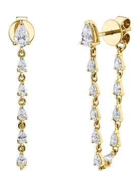 18k yellow gold all pear diamond loop earrings