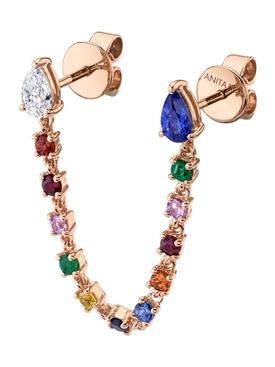 18k rose gold multi-sapphire double piercing loop earring