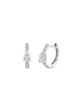 White Diamond Huggie Hoop Earrings