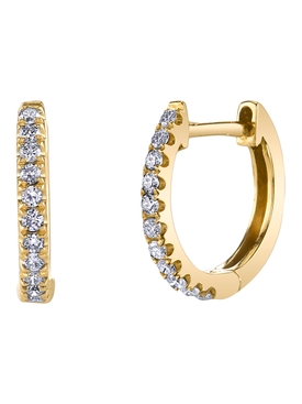 18k yellow gold small diamond huggies