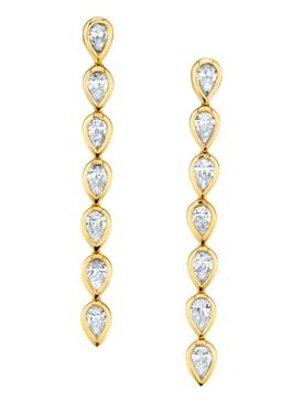 18k short pear diamond bezel drop earrings