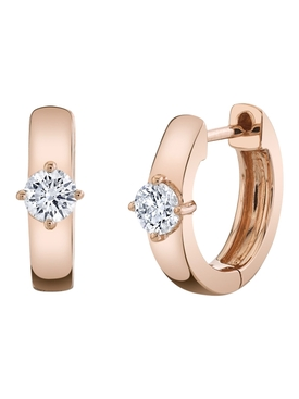 18k rose gold huggies with round diamond