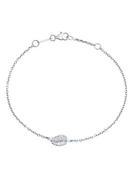 18K white gold small palm leaf chain bracelet