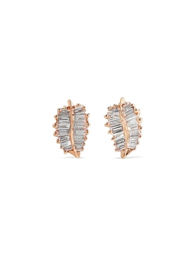 Small palm leaf diamond stud earrings