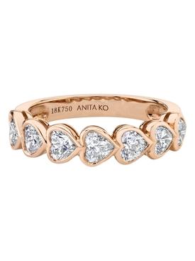 18k rose gold bezeled heart diamond demi eternity band