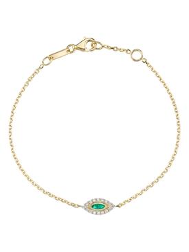 18k yellow gold emerald evil eye bracelet