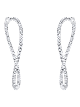 18k white gold twisted diamond hoops
