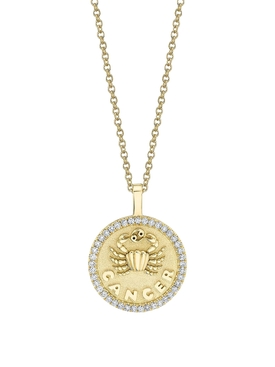 18K YELLOW GOLD CANCER DIAMOND COIN PENDANT NECKLACE