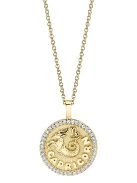 18k yellow gold Capricorn zodiac pendant