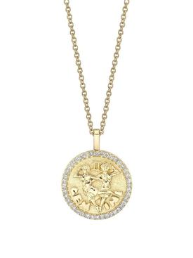 18K YELLOW GOLD GEMINI DIAMOND COIN PENDANT NECKLACE