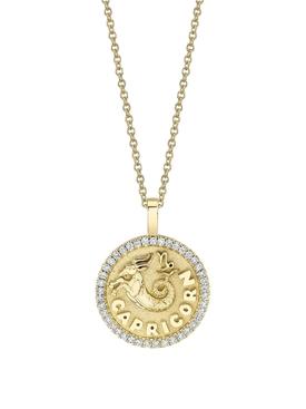 18K YELLOW GOLD SMALL CAPRICORN DIAMOND COIN PENDANT NECKLACE