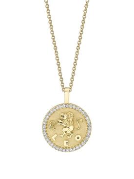 18K YELLOW GOLD SMALL LEO DIAMOND COIN PENDANT NECKLACE