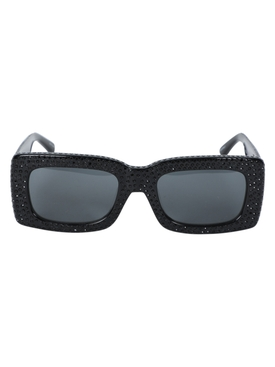 X The Attico Stella Rectangular Embellished Sunglasses