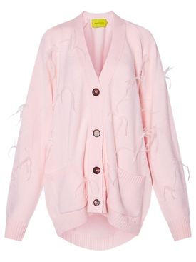 OVERSIZED FEATHER CARDIGAN PINK