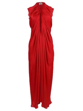 Red Draped Midi Dress