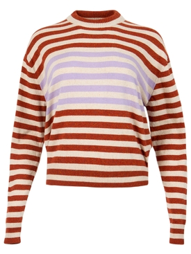 Thin stripe print crewneck rusted orange and lilac