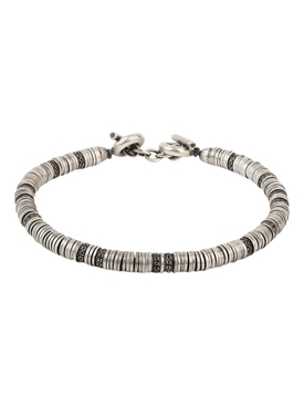 Silver and black diamond Washer Bracelet