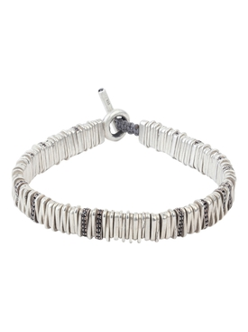 Silver and black diamond Large Zig bracelet