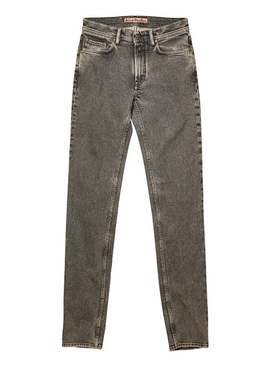 Washed black straight-leg denim jean