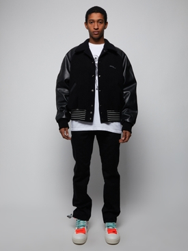 Leather Letterman Bomber