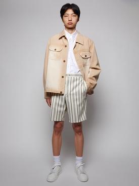 Faded Effect Denim Jacket, Ecru and Beige