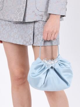Mini silk embellished hand bag DUSTY BLUE