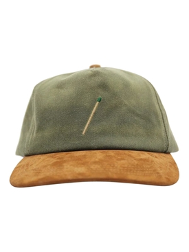 Tan and green baseball cap